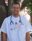 Michael Poeschel in his nursing uniform.
